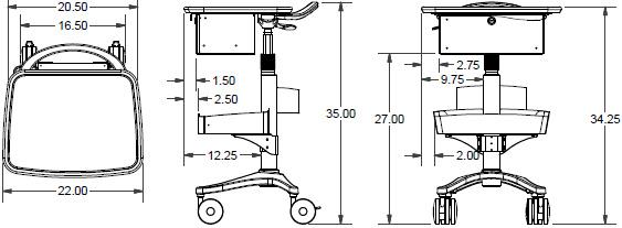 Ergotron BZD04CG/CG4 Anthro Zido Phlebotomy Mobile Cart