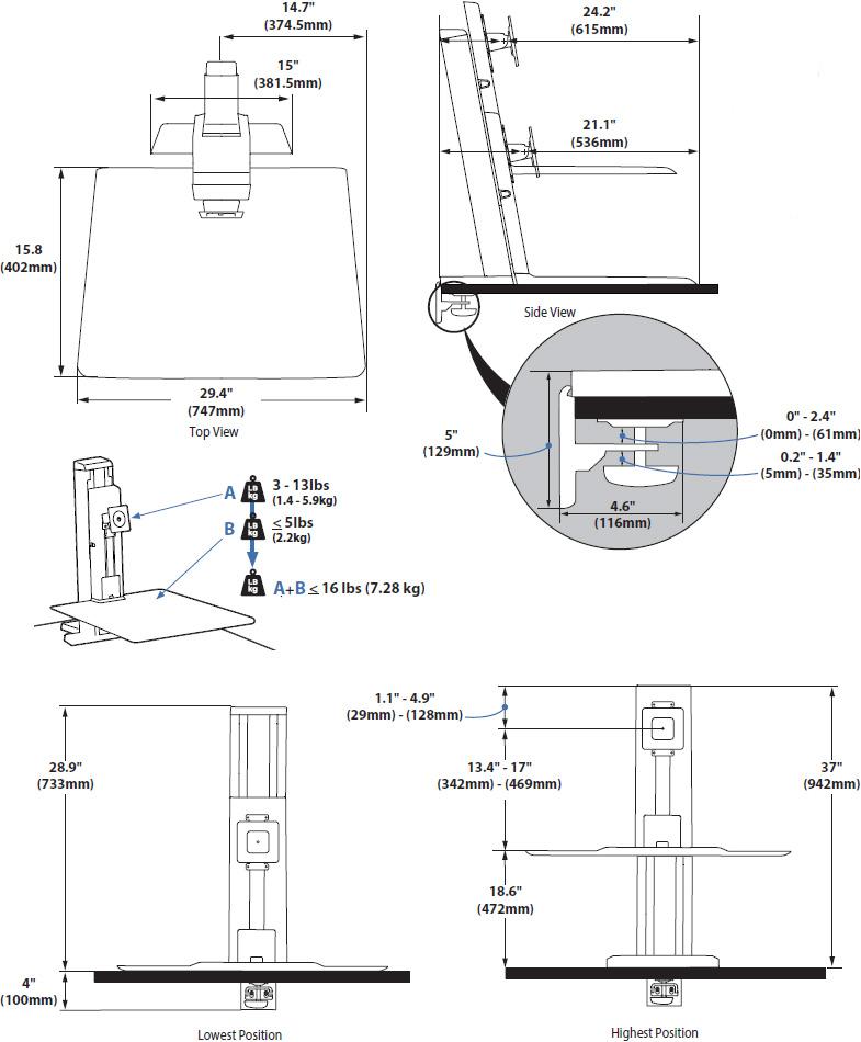 Ergotron 33-420-062 WorkFit-SR Rear Mount Single Short