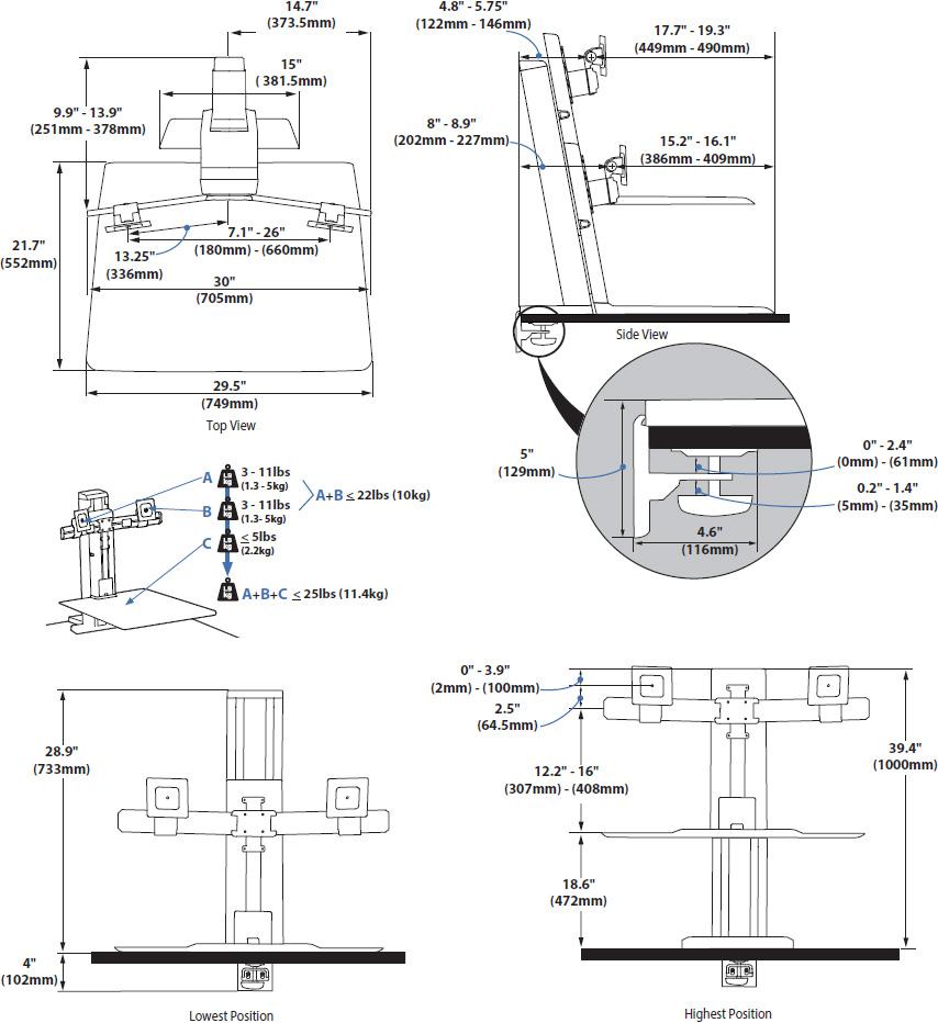 Ergotron 33-419-062 WorkFit-SR Rear Mount Dual Short