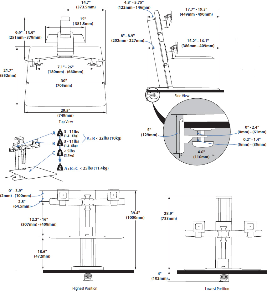 Ergotron 33-407-062 WorkFit-SR Rear Mount Dual Sit-Stand