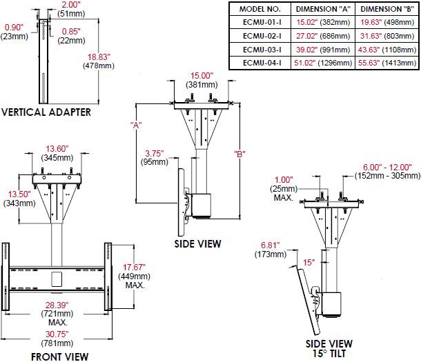 Peerless ECMU-I 1 to 4 feet Wind Rated I-Beam Ceiling Tilt