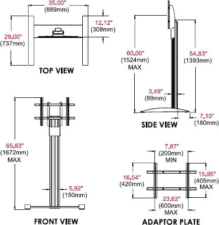 Peerless SS560F SmartMount Flat Panel Floor TV Stand