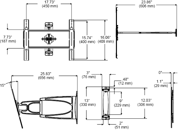 Peerless SUA745PU Slimline Ultra-Thin Articulating Wall