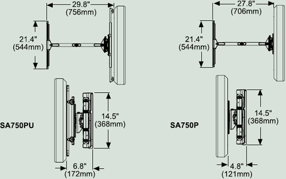 Peerless SA750PU Articulating Wall Arm for 32 to 50 inch