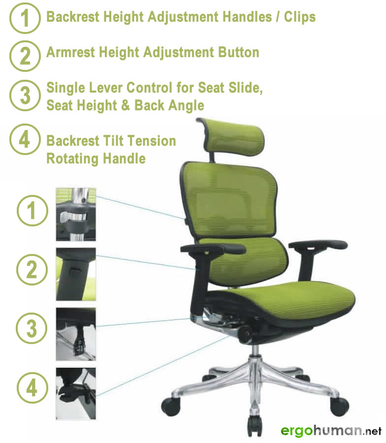 ergonomic chair levers ikea kitchen table and chairs ergohuman manual assembly function controls