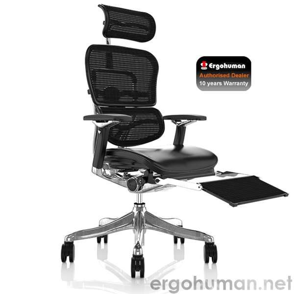 white ergonomic office chair uk executive arm covers ergohuman plus | leather seat and mesh back with leg rest