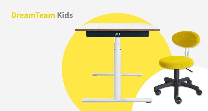 Das DreamTeam Kids mit Eliot-Schreibtisch und Kinderdrehstuhl LeitnerKid