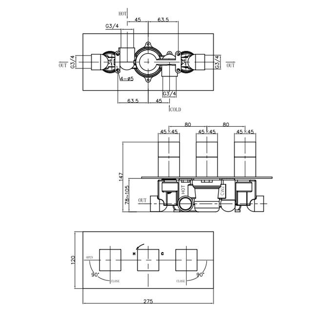 Crosswater Thermostatic Shower Valve 3 Way Diverter horizontal