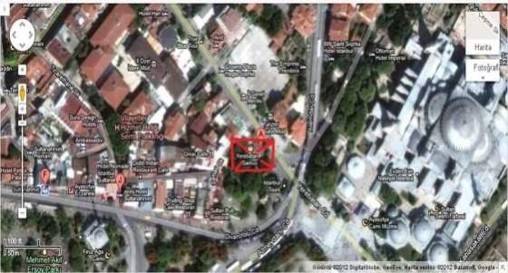 Yerebatan Sarayının Yerini Gösteren Harita