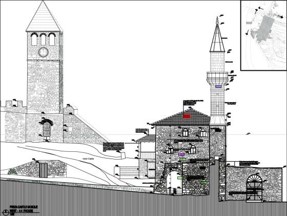 Preza kalesi giriş avlusu, saat kulesi ve cami (şekil 17)