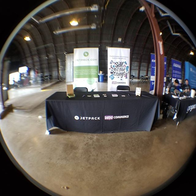 The Jetpack and Woo booth. Taken with the fish eye lens from @wpengine. #wcatx17