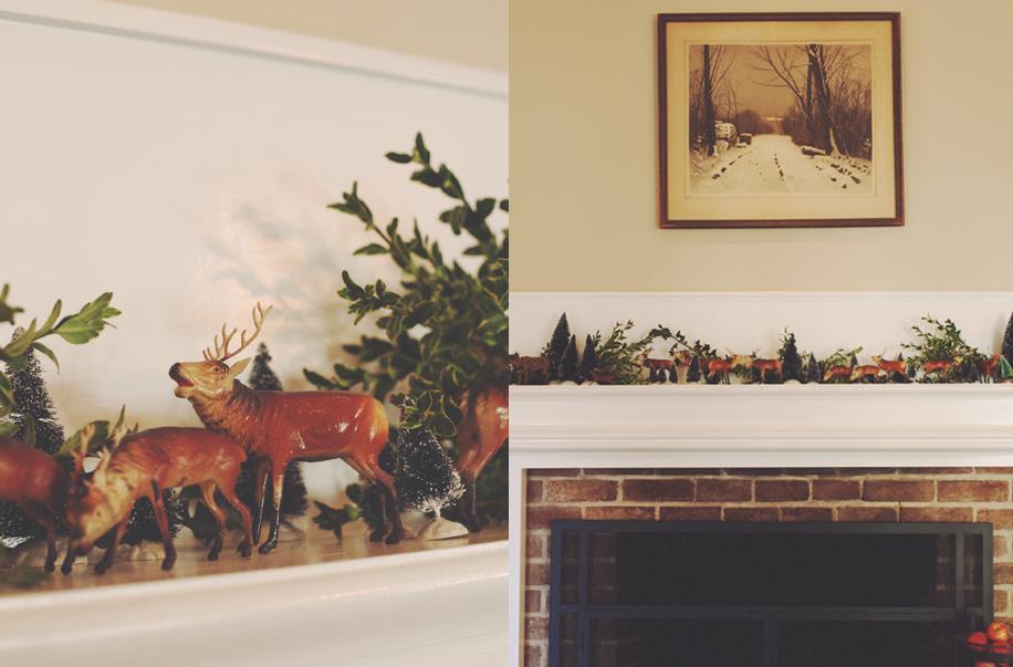 Vintage Reindeer & fireplace