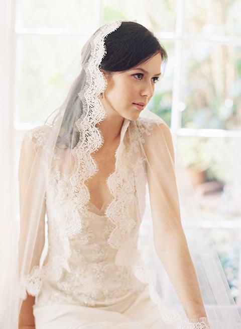 French Alencon lace mantilla bridal veil