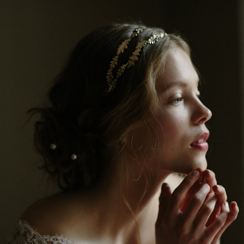 grecian boho leaf bridal crown