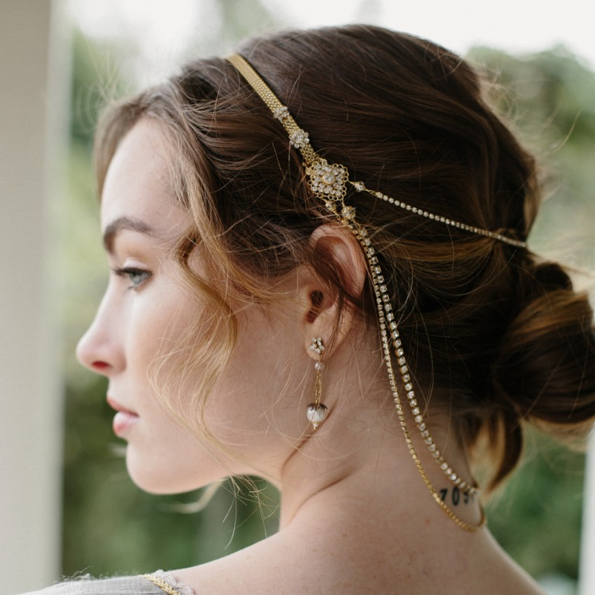 bridal hair chain headpiece