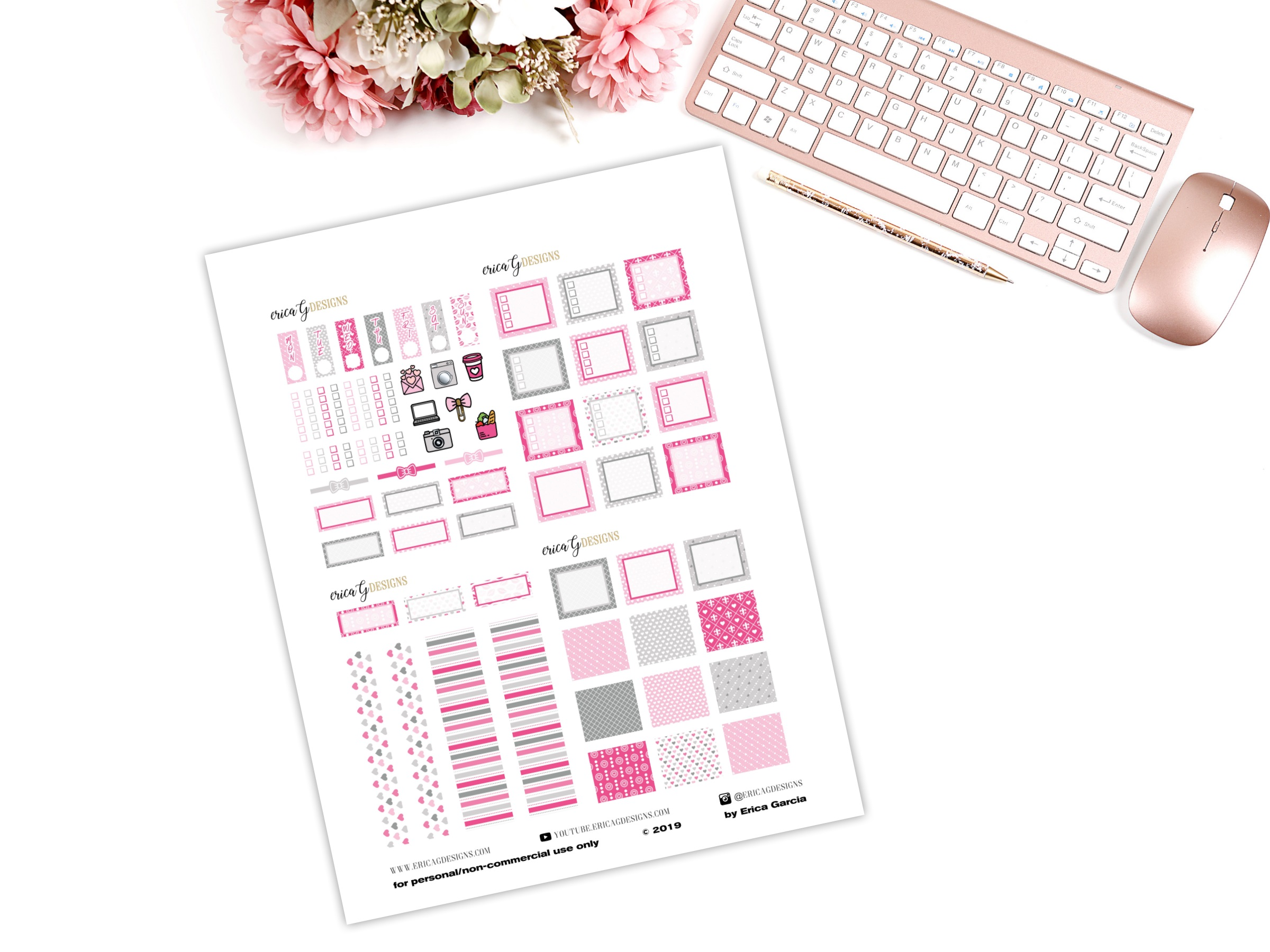 image relating to Printable Keyboard Stickers called Red and Grey V-Working day Hobonichi Months Printable Sticker Package