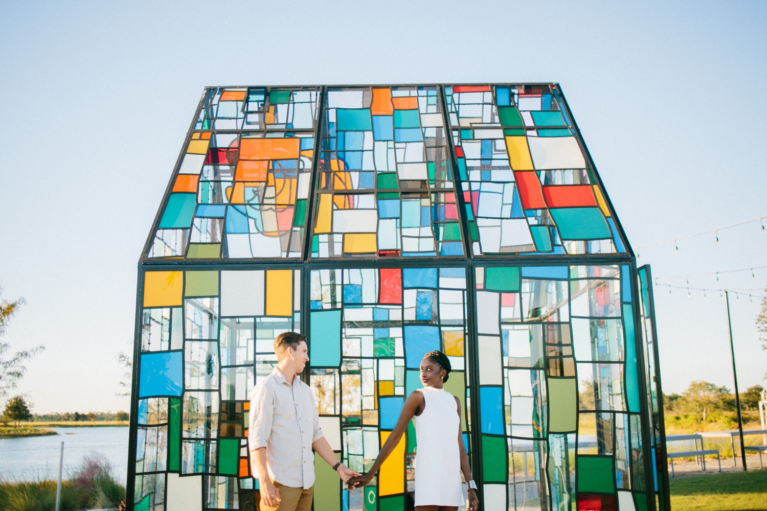 stained glass house engagement photos in orlando florida