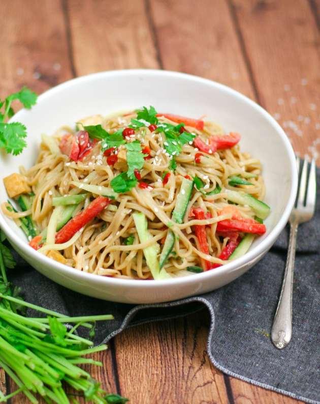 Chilled Peanut Noodle Salad with Crispy Tofu-7