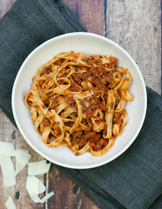 Weeknight Bolognese with Fettuccine - Erica Julson