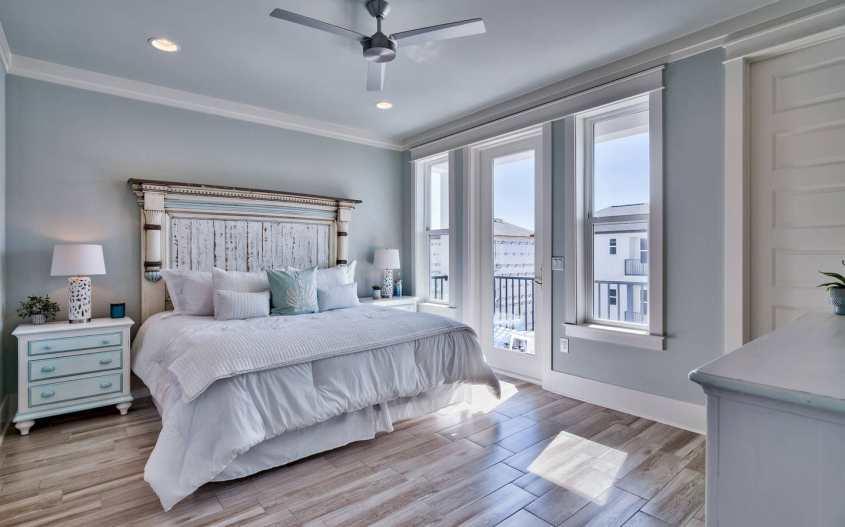 Coastal master bedroom interior design using blue and green