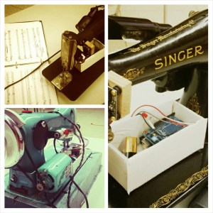 Vintage Singer Sewer Machines altered with Arduino technology.