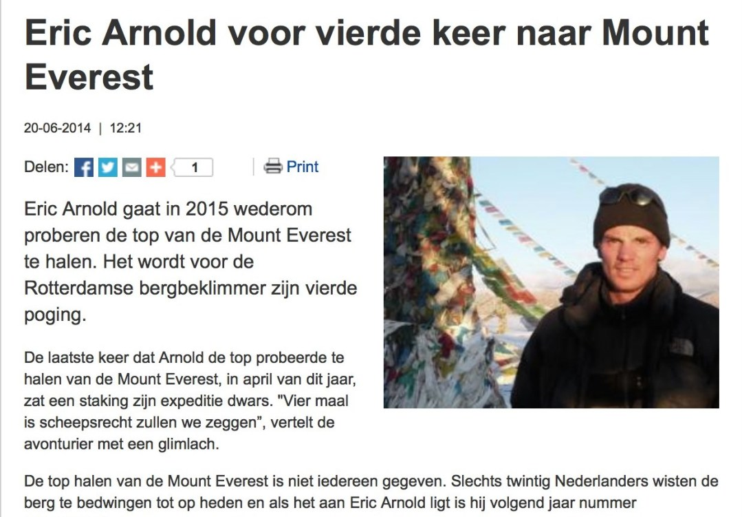Eric Arnold voor vierde keer naar Mount Everest