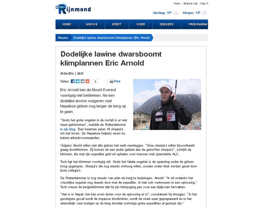 Dodelijke lawine dwarsboomt klimplannen Eric Arnold