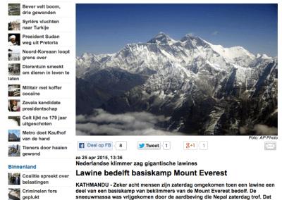 Telegraaf – Lawine Bedelft Basiskamp