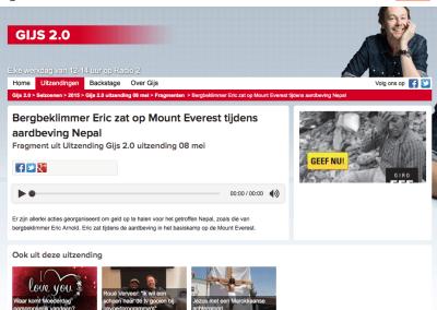 Radio 2 – Bergbeklimmer Eric zat op Mount Everest