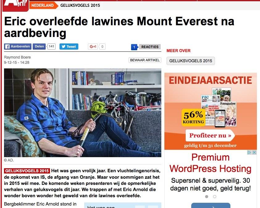 Eric overleefde lawines Mount Everest na aardbeving