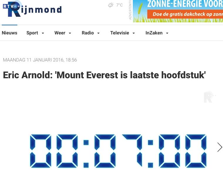 RTV Rijnmond – Eric Arnold: 'Mount Everest is laatste hoofdstuk'