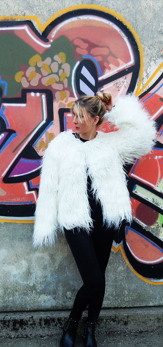 Faux fur coat White! How to style it