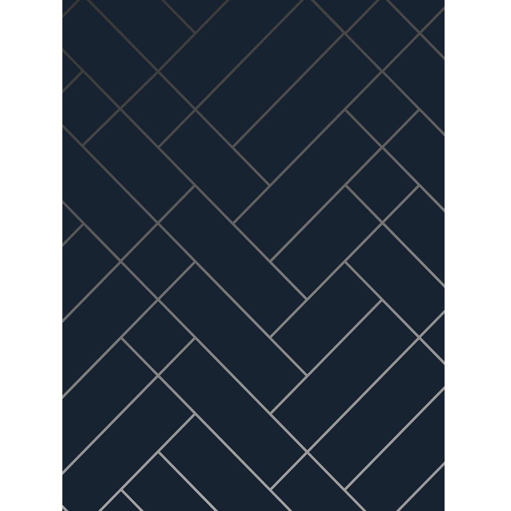 Navy blue and silver wallpaper  Tapet Cafe Tile  Erica