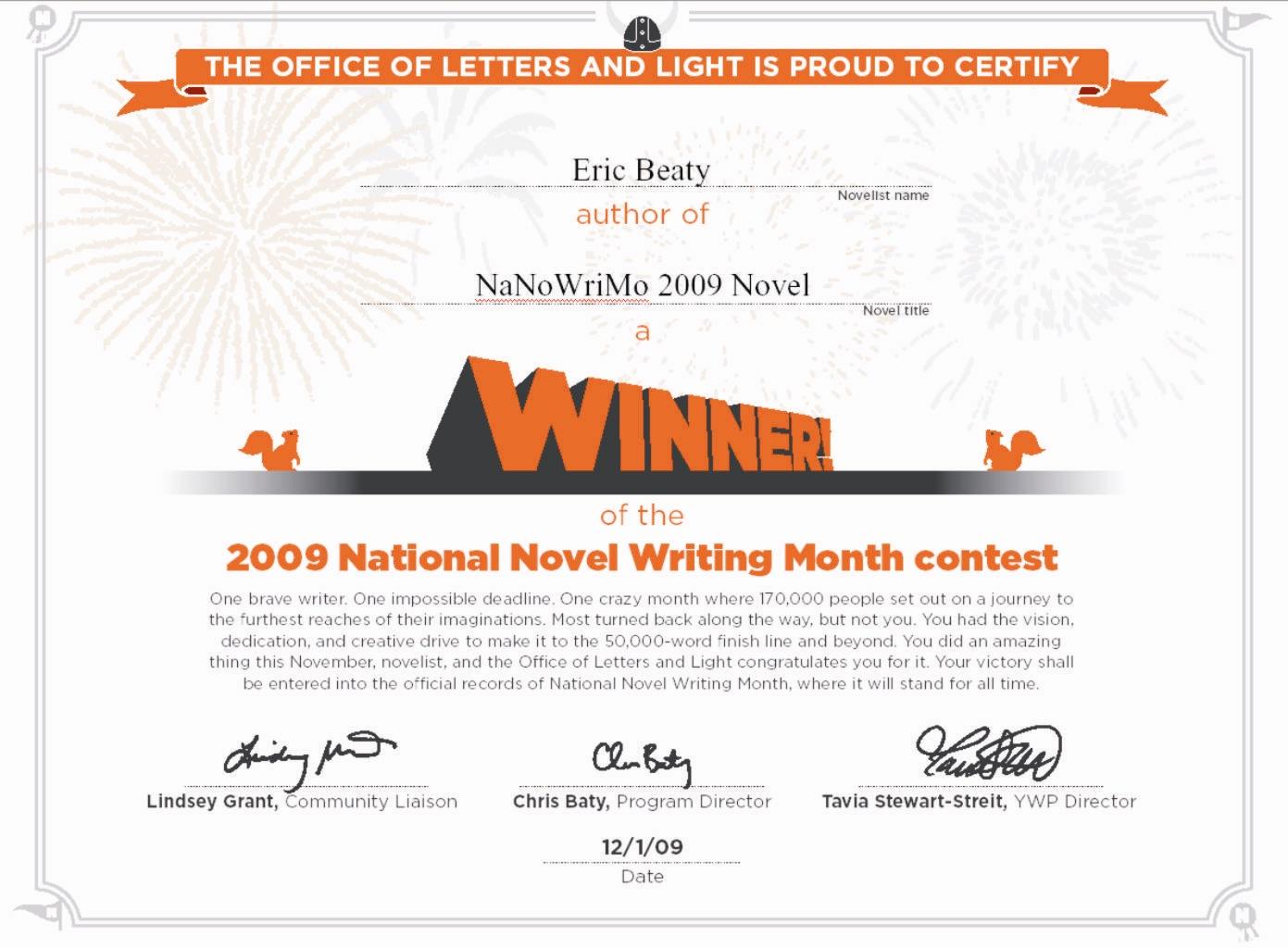 NaNoWriMo 2009 Winner's Certificate