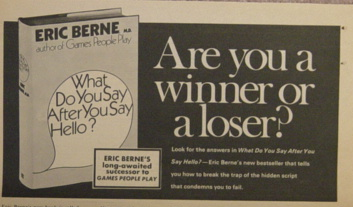 Ad for What Do You Say After You Say Hello seen in the New York TImes