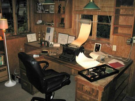 Photo of the inside of Eric Berne's study in Carmel with his typewriter