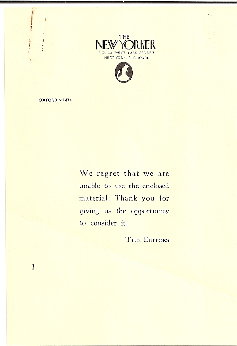 Rejection letter from the New Yorker to Lennard Gandalac