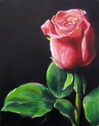 Oil Pastel Flower - Valentine Rose