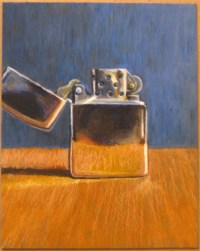 Zippo Lighter Drawing in Oil Pastels