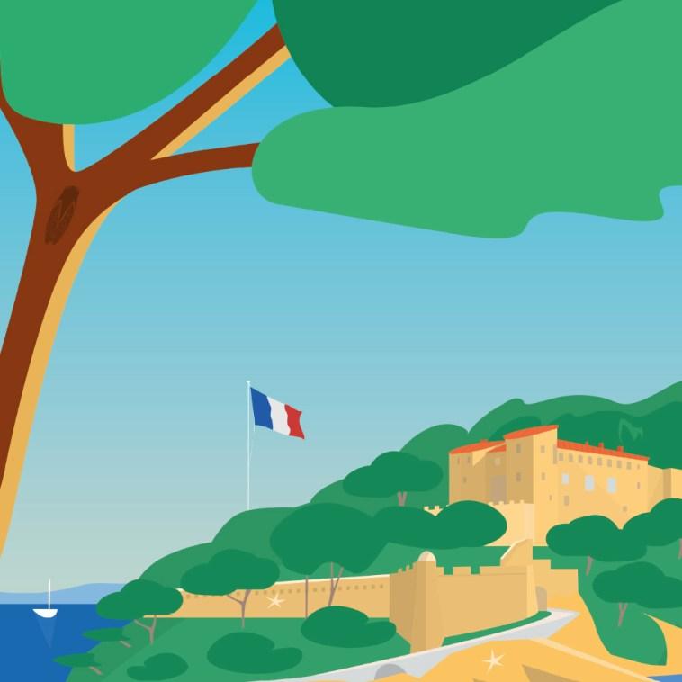 Bormes Mimosas Brégançon Macron Président Piscine Parasol Vacances Politique Var affiche art Garence Roger Broders Illustrateur Provence République France drapeau galerie