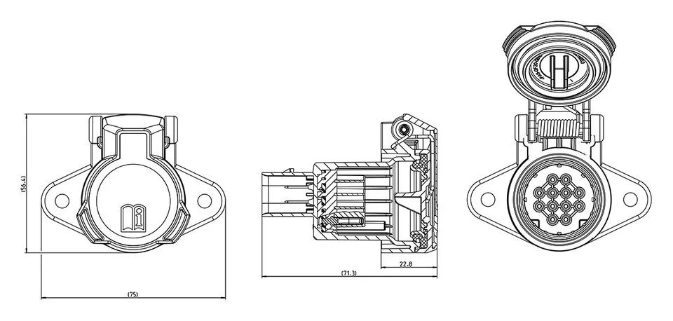 Trailer socket for video transmission according to SAE J3008