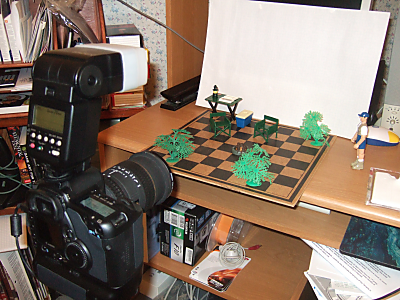the campsite, by eric holsinger; set construction and camera angle