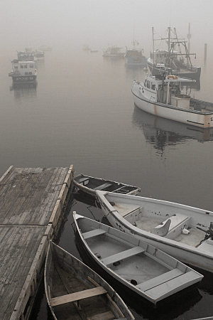 Boats in Fog, Paint Shop Pro Enhanced Reds Film Effect and Orange Filter Effect, by Eric Holsinger