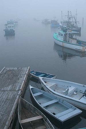Boats in Fog, original, by Eric Holsinger
