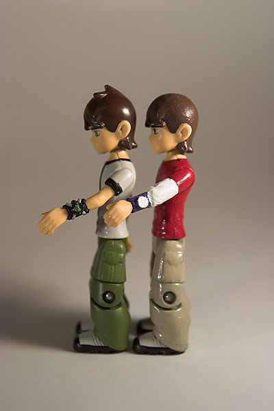 Original Ben 10 Ben Tennyson Figure and Custom Repaint Figure, left side