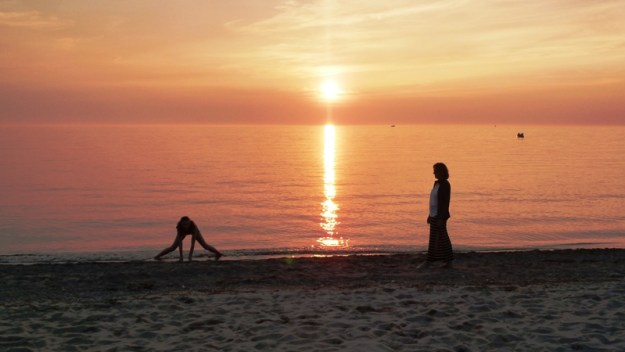 My girls on the beach at sunset, in Southampton, Ontario.