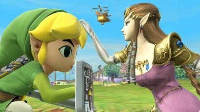 Toon Link and Zelda in SSB Wii U.