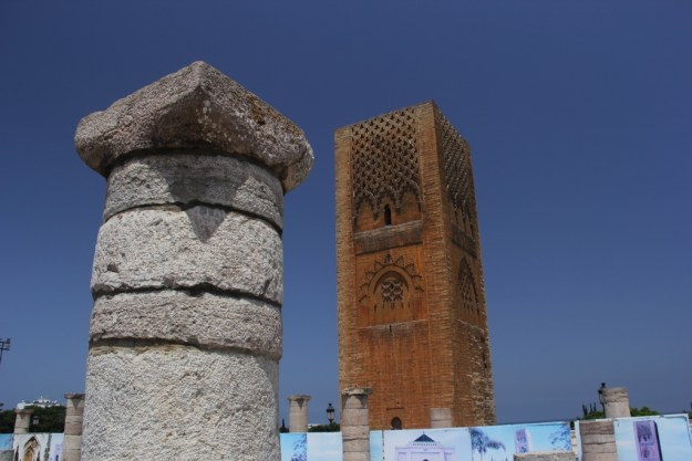 Tour Hassan in Rabat was on track to be part of the second largest mosque at the time of its construction several centuries ago, but it was never completed to its original specifications and was eventually destroyed in a major earthquake in 1755. Now it's an iconic image of Rabat, juxtaposed here with one of the many columns that once supported the main part of the mosque.