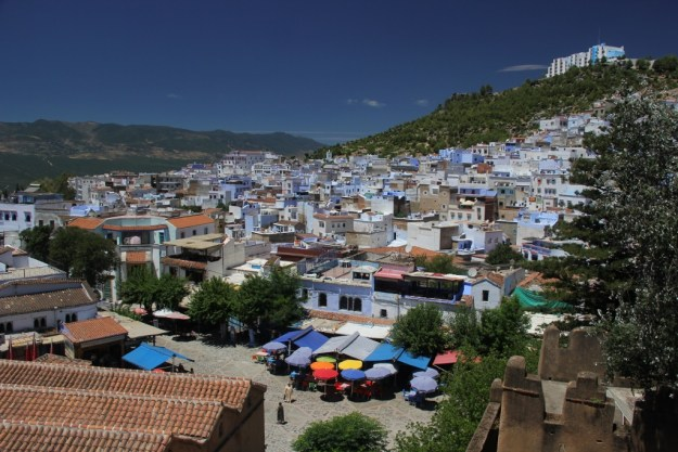 View of Chefchaouen from the top of the kasbah (fortress).
