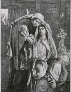"Simeon Solomon's ""Naomi and the Child Obed"" 1881 wood engraving was scanned by Simon Cook. You can see more of Simeon Solomon's Bible illustrations here."